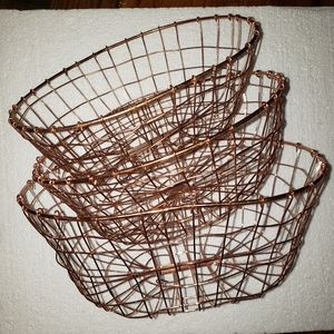 3 Copper Wire Decorative Industrial Baskets
